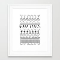 good vibes Framed Art Prints featuring GOOD VIBES by Kris Tate