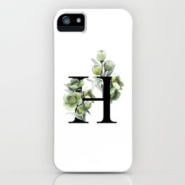 Letter 'H' Helleborus Flower Typography iPhone Case