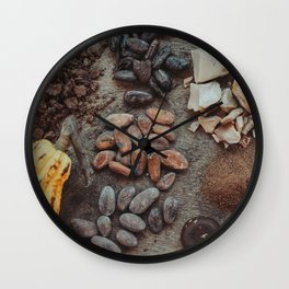 Cacao, beans, chocolate Wall Clock