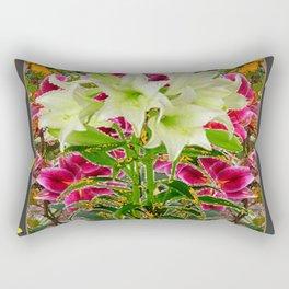 YELLOW BUTTERFLIES ASIAN LILY FLOWERS FLORAL ART Rectangular Pillow