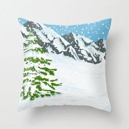 Winter mountains Throw Pillow