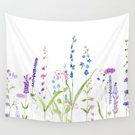 purple blue wild flowers watercolor painting Wall Tapestry
