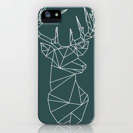 Geometric Stag (White on Slate) iPhone Case