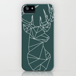 Geometric Stag (White on Slate) iPhone Case