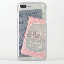 Pink and Gray Books Clear iPhone Case