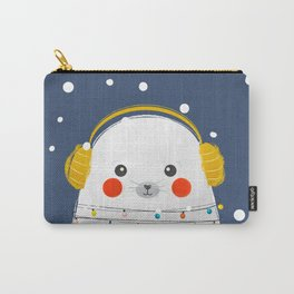 Christmas Baby Seal with fairy lights Carry-All Pouch