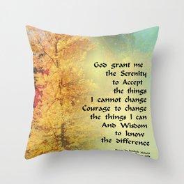 Serenity Prayer Autumn Trees on Green Throw Pillow