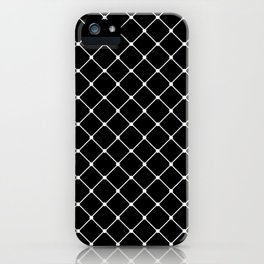 Black and White Classic Diagonal Grid iPhone Case