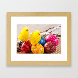 Easter eggss and fluffy chickens Framed Art Print
