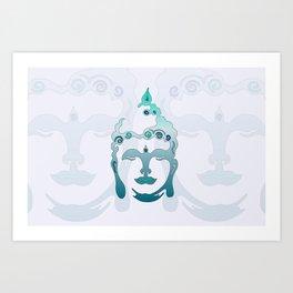 Buddha Head turquoise I Art Print