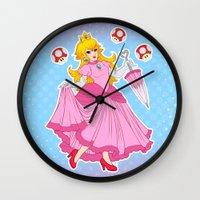 princess peach Wall Clocks featuring PRINCESS PEACH by Laurdione
