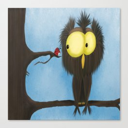 Oliver the Owl and his Visitor Canvas Print