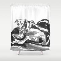 greyhound Shower Curtains featuring Greyhound -3 by Jenn Steffey