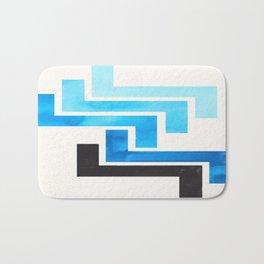 Cerulean Blue Aztec Pattern Mid-century Modern Simple Geometric Pattern Watercolor Minimalist Art Sq Bath Mat