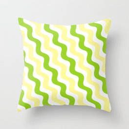 Lime Green and Canary Yellow Lemon Lime Line Pattern Throw Pillow