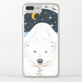 Polar Bear King Of North Watercolor Clear iPhone Case
