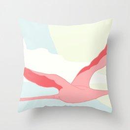 Flamingos flying through the Tropics Throw Pillow