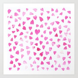 Blush pink hand painted watercolor valentine hearts Art Print