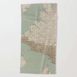 Vintage Map of Panama City FL (1943) Beach Towel