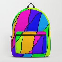 Slanting repetitive lines and rhombuses on bright pink with intersection of glare. Backpack