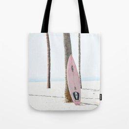 Pastel Pink Surfboard at Beach Tote Bag