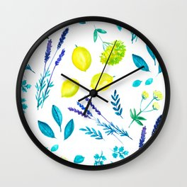 Lemon & lavender, mediterranean summer Wall Clock