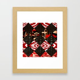 Red floral print and African Print Framed Art Print