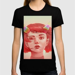 Red girl with horns T-shirt