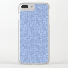 Dusty Blue scribble knots pattern Clear iPhone Case