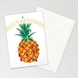 Mele Kalikimaka Hawaiian Christmas Pineapple   Stationery Cards