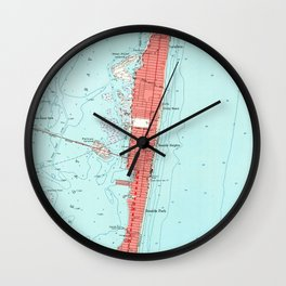 Vintage Seaside Heights NJ Map (1953) Wall Clock