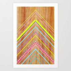 Wooden Chevron Pink Art Print
