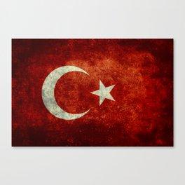 National flag of Turkey, Distressed worn version Canvas Print