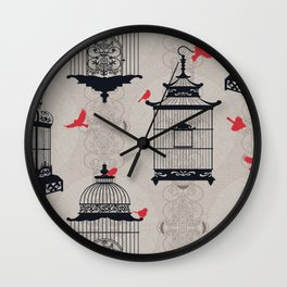 Kiss Empty Brid Cages Wall Clock