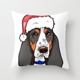 Basset Hound Dog Christmas Hat Throw Pillow