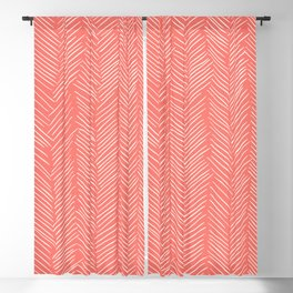 Living Coral Herringbone Happiness Blackout Curtain
