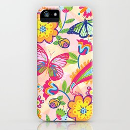 Butterflies and Fowers iPhone Case