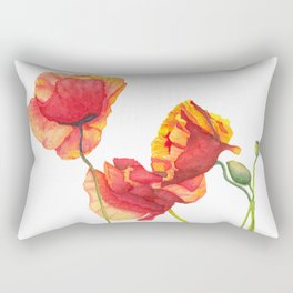 Watercolor Poppies Rectangular Pillow