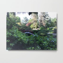 Kubota Garden - red bridge landscape photo Metal Print