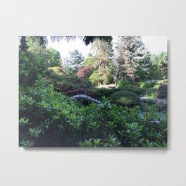 Kubota Garden - red bridge landscape photo Metal Print