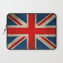 Old and Worn Distressed Vintage Union Jack Flag Laptop Sleeve