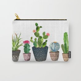 Watercolor cactus trio | hand painted cactus print Carry-All Pouch