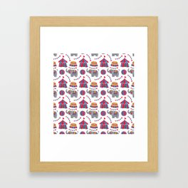 Colorful red blue gray watercolor elephant circus pattern Framed Art Print