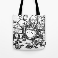 coffe Tote Bags featuring Smile coffe by Kisava NiCh