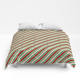 Candy Cane Stripes Red Green and Cream Comforters