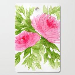 Pink Peonies in Watercolor Cutting Board