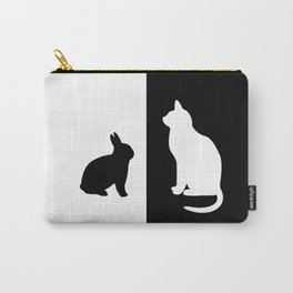 White Cat with black Rabbit Carry-All Pouch