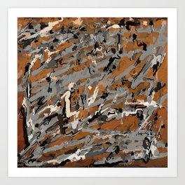 Gray, Black and Caramel Abstract Art Print