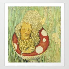 Alice in Wonderland Worm Art Print
