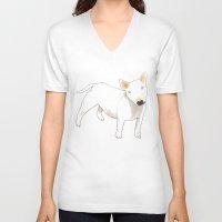 bull terrier V-neck T-shirts featuring Bull Terrier by jo clark